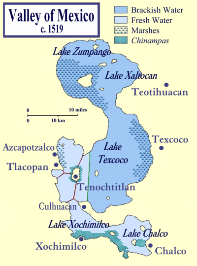 Mapa jezera Texcoco bez vztahu k dnešni situaci