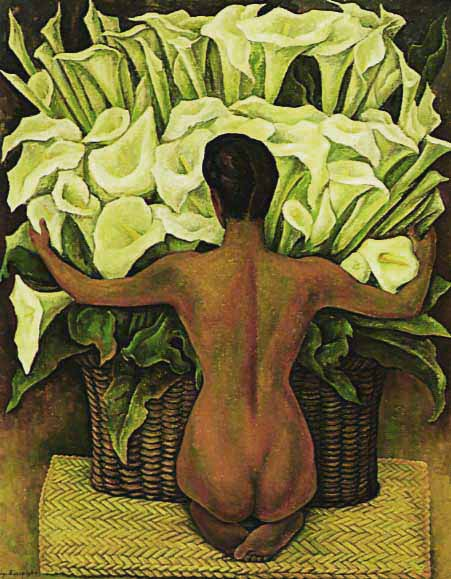 Dívka s liliemi - Diego Rivera