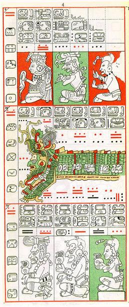 Mayský kodex - čtvrtá strana drážďanského kodexu