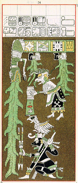 Sedmdesátá čtvrtá strana mayského kodexu drážďanského